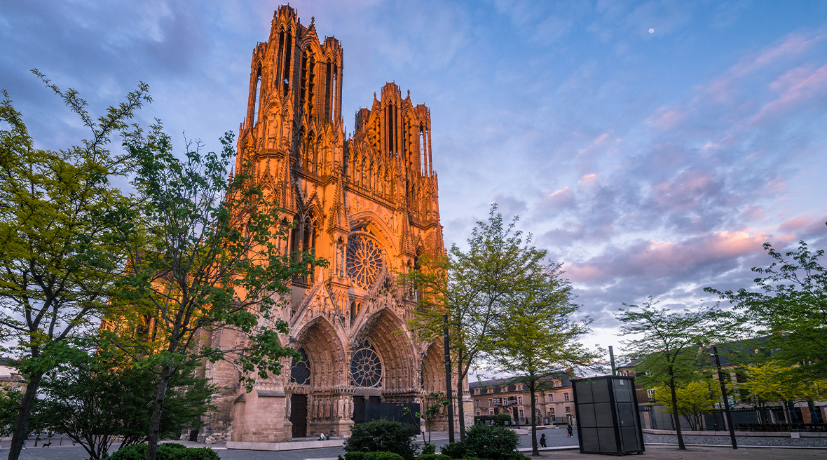 The beautiful Gothic cathedral in sunset light