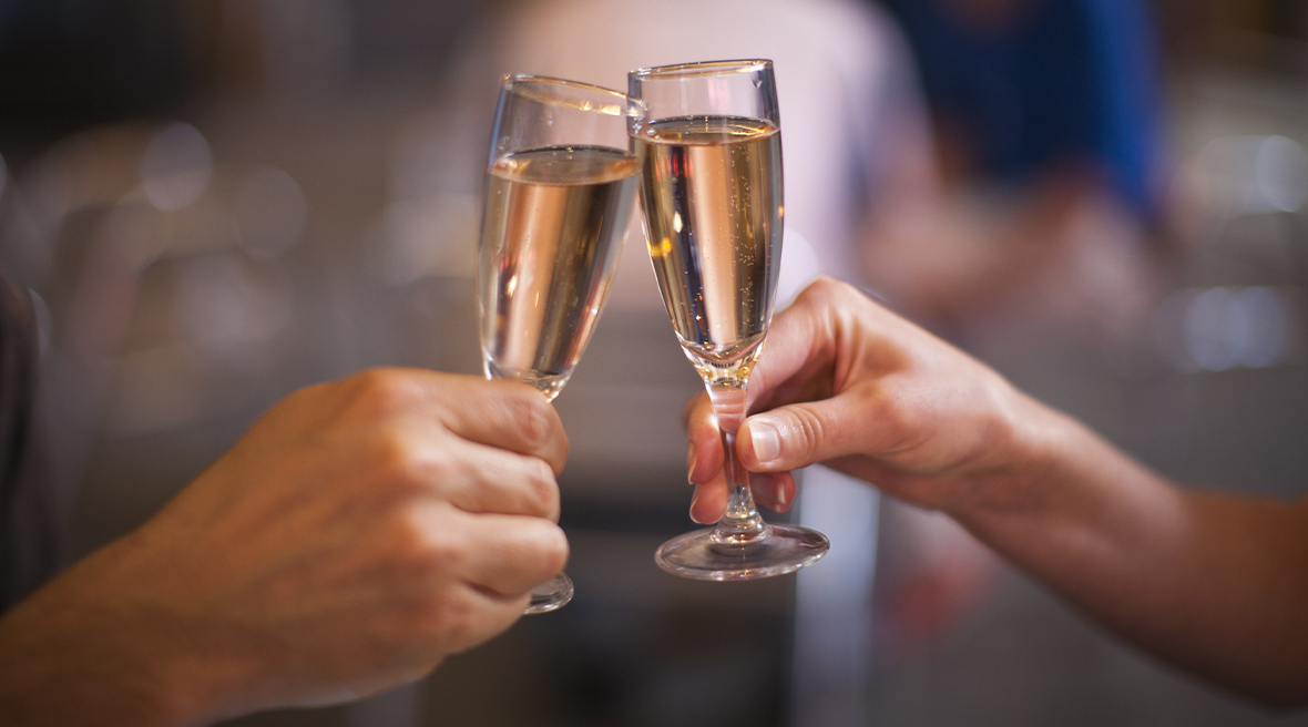 Enjoy a cool glass of delicious champagne in the region that first created it