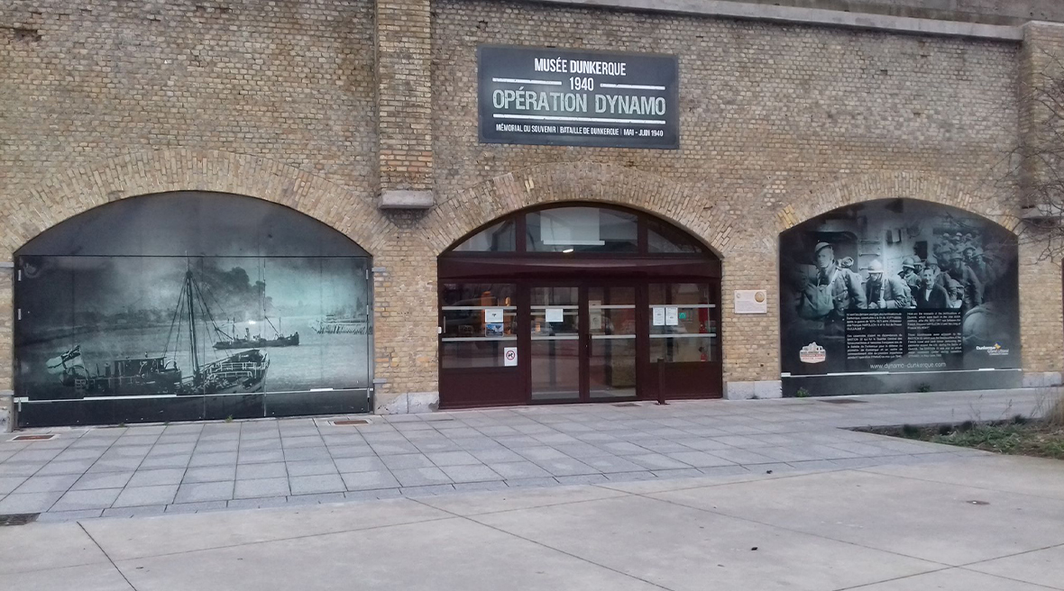 The front entrance of the Operation Dynamo museum. Which is housed in a an ancient red-brick fort on the docks in Dunkirk