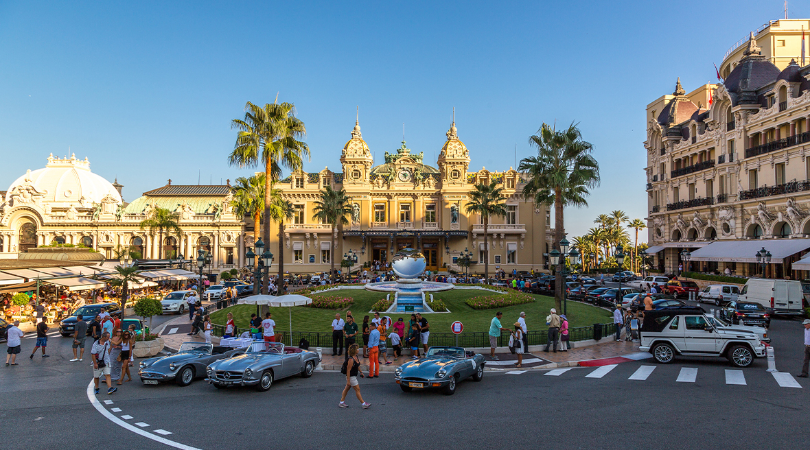 Grand Casino in Monte Carlo surrounded by antique supercars