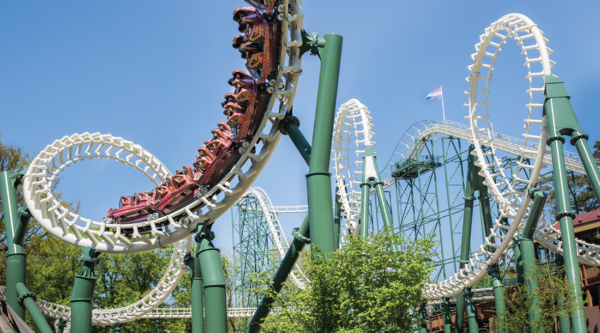 Python rollercoaster with loops and corkscrews at Efteling theme park