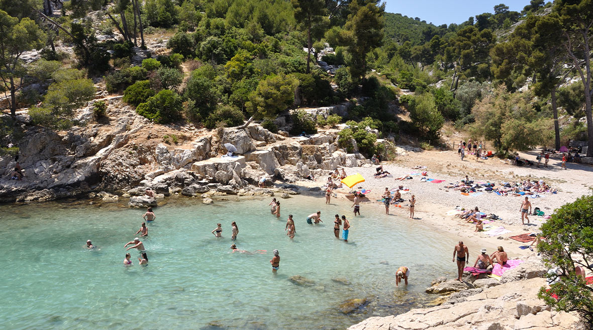 People swimming and relaxing on a beach in a tree lined cove