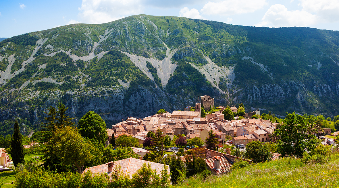 Quaint Mediterranean style village of Gréolières hidden within the mountain pass
