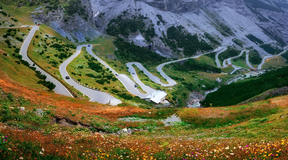 Austrian mountain overlooking a winding road surrounded by colourful spring flowers and foliage
