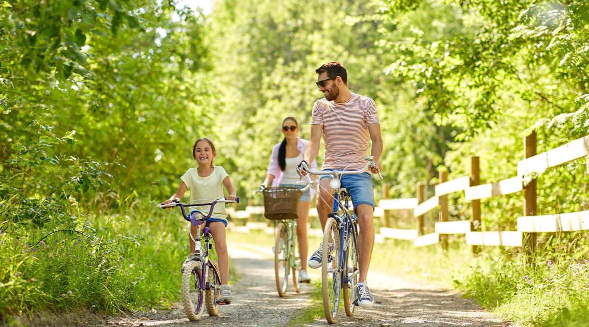Family on bicycles through sunny countryside