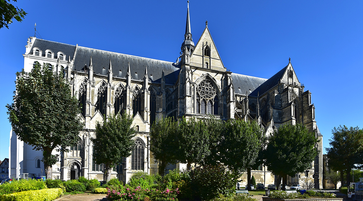 Impressive French architecture cathedral with tall green trees in front