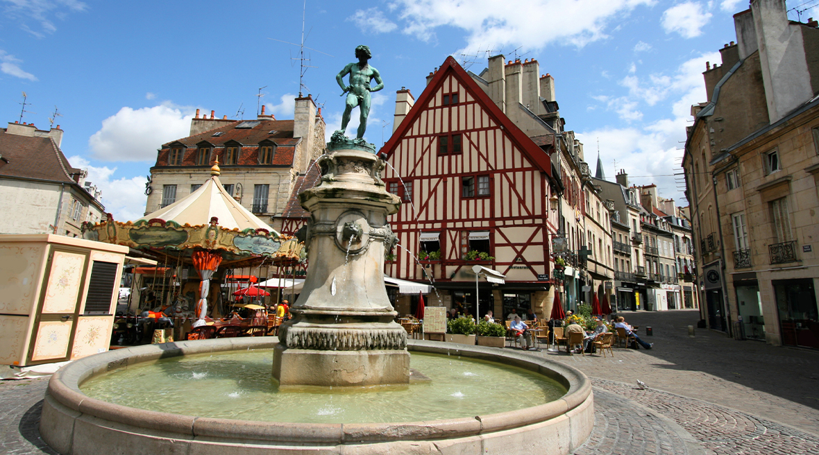 Fountain in market square of Dijon