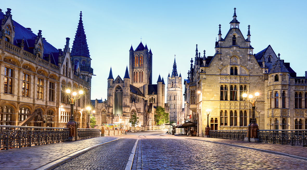 Cobbled street and medieval buildings in Ghent