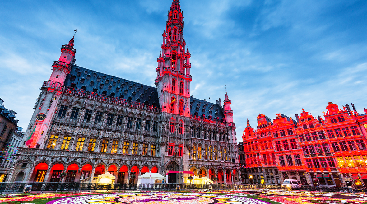 The main square and town hall in Brussels during the colourful Flower Carpet festival