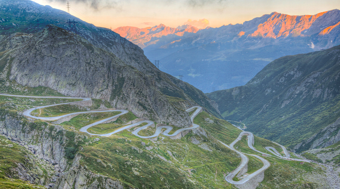 St. Gotthard Pass at sunset