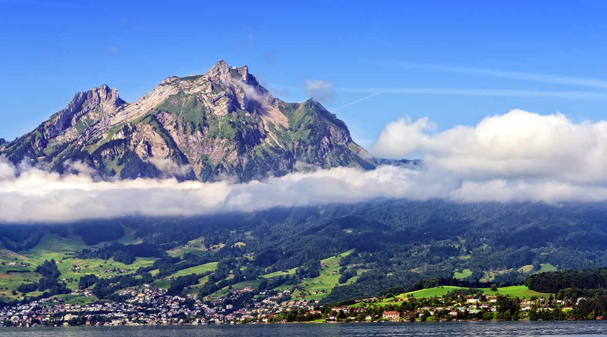 Mount Pilatus looming above the clouds