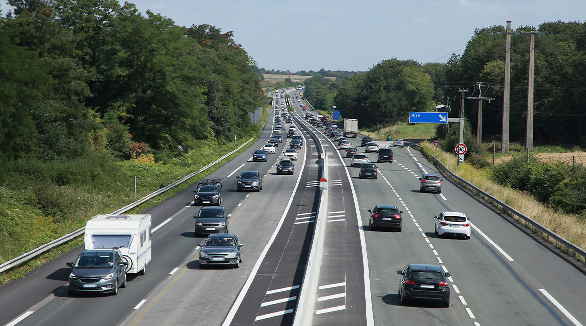 cars on an autoroute in France