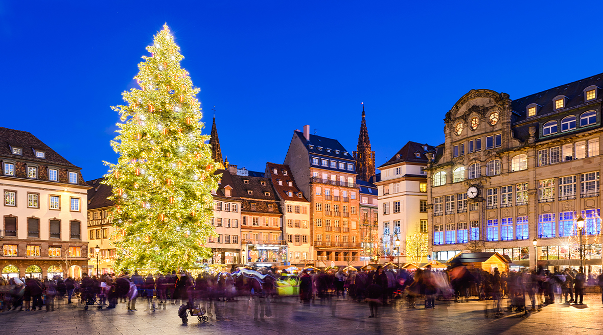 Tall Christmas tree lit up in city square