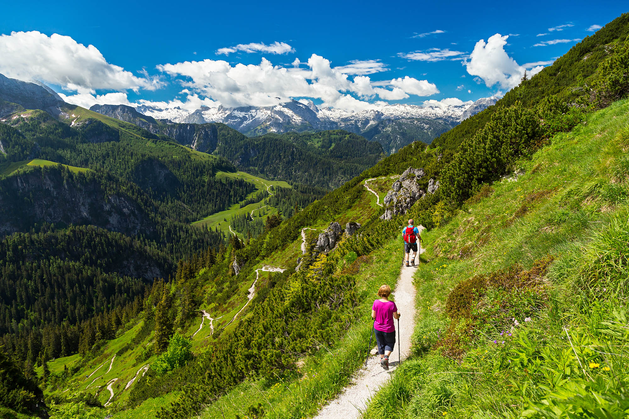 Two hikers on a narrow mountain in the Alps, Europe. A sunny mountain landscape can be seen in the background.