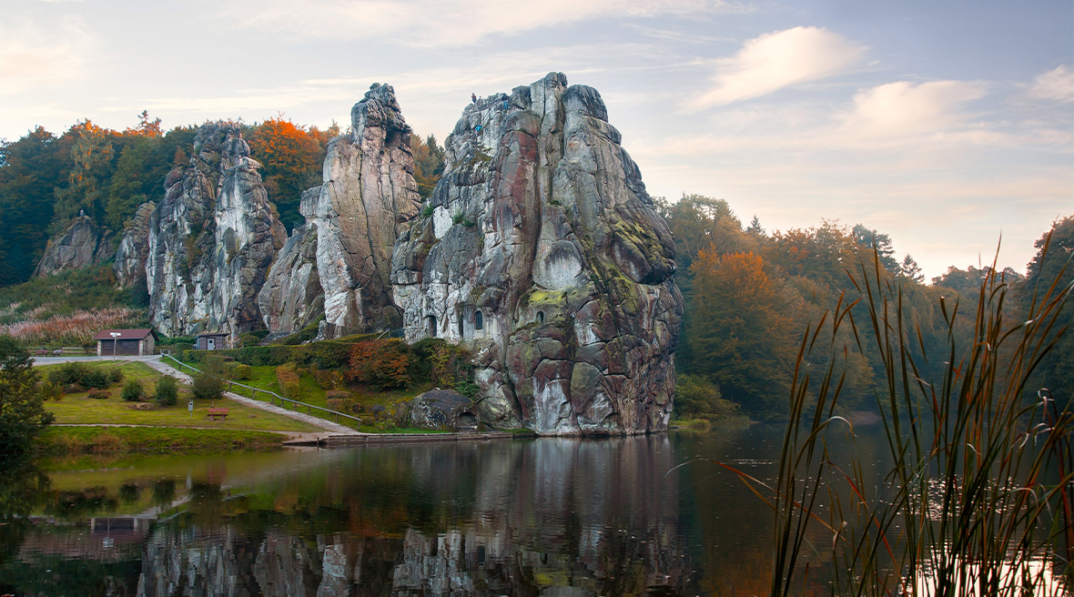 Beautiful sandstone formations in the Teutoburg Forest in Germany