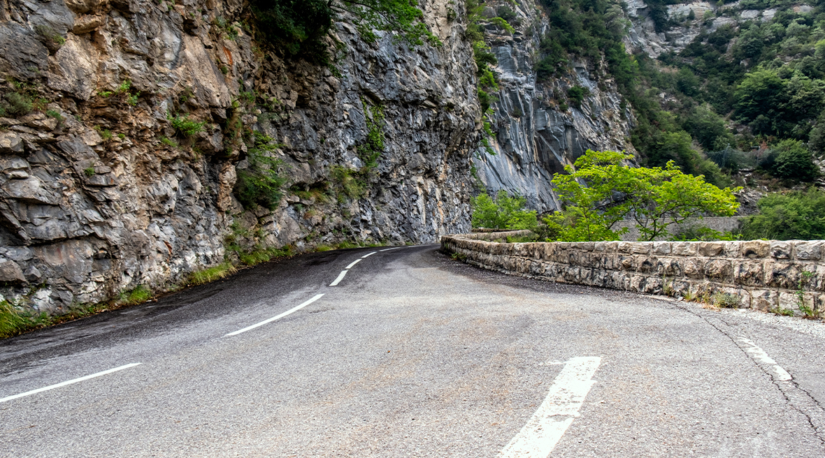 Winding Col De Turini high mountain pass in the Alps