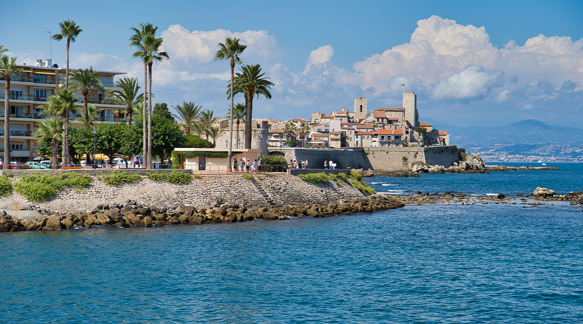 View on old town of Antibes from plage de la Salis, France